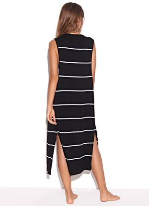 Costas-Saida-Colete-Knit-Stripes-Preto